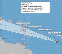 Hurricane Beryl nadert noordoostelijke Caribische eilanden