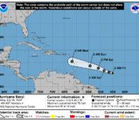 Lagedrukgebied op de Atlantische Oceaan uitgegroeid tot hurricane Beryl