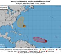 Mogelijk tropische depressie op komst